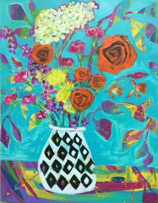 "Expressive Still Life Floral Painting, Colorful Original Flower Art, ""HOST OF THE PARTY"" by Texas Contemporary Artist Jill Haglund"