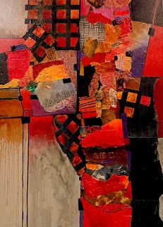 "Mixed Media Abstract Collage, ""Billboard 6"" by Carol Nelson Fine Art"