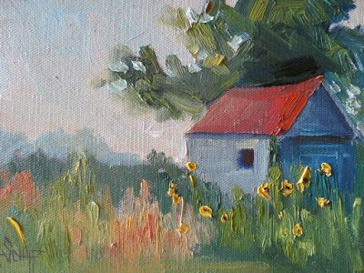 Rural Barn Painting, Small Oil Painting, Daily Painting, Rustic Landscape, 6x8