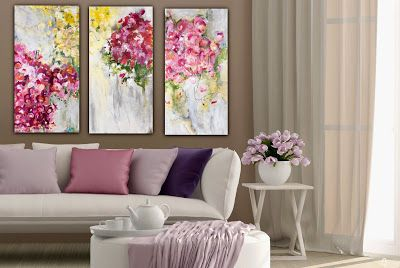 "Contemporary Abstract Floral Paintings ""ENCORE, FINALE, & CRESCENDO"" by Abstract Artist Pamela Fowler Lordi"