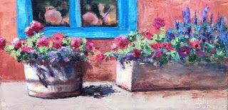 Contemporary Impressionistic Floral Still Life Palette Knife Oil Painting by Sheri Jones
