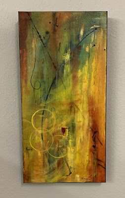 "Vertical Art, Expressionism, Contemporary Painting, Mixed Media Art, ""Movement"" by Texas Contemporary Artist Sharon Whisnand"
