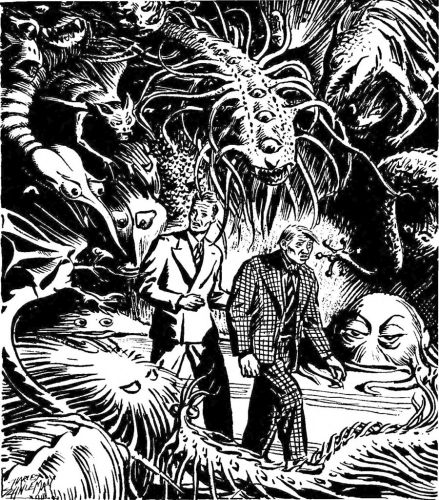 """Charles Scheneeman - Illustration for E. Hunter Waldo's """"The Ultimate Egoist"""" published in Unknown Magazine, February 1941"""