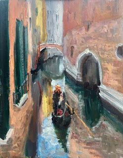 """New """"Gondola Ride II"""" Oil Painting by Contemporary Impressionist Niki Gulley"""