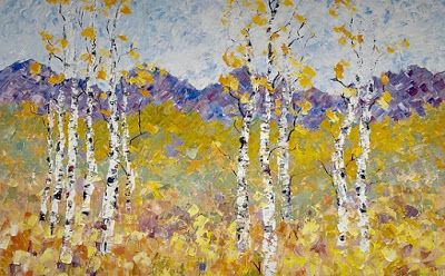 "Impressionist Floral Landscape Painting, Palette Knife Painting ""The Softness of Spring"" by Colorado Impressionist Judith Babcock"