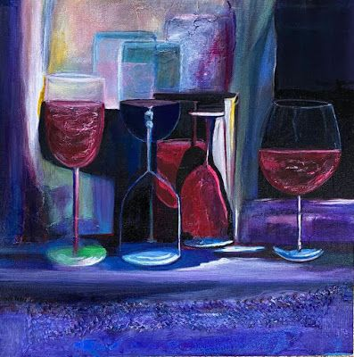 "Still Life, Wine Glasses, Impressionist Interior ViewPainting, Purple Painting ""Wine With a Mask, Pls"" by California Artist Cecelia Catherine Rappaport"