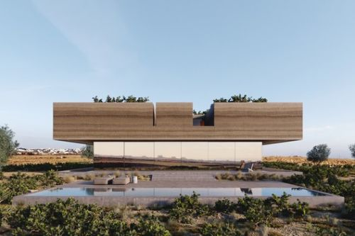 Kapsimalis Architects Carve Land from Santorini Vineyard to Create Floating House