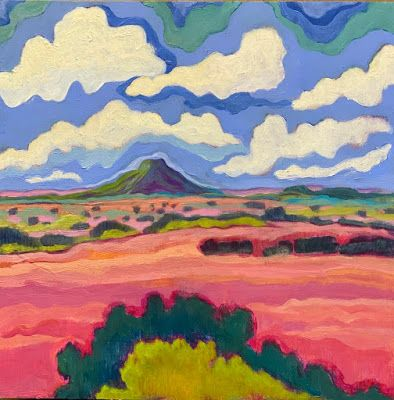 "New Mexico Expressionist Landscape Art Painting ""Distant Pedernal"" by Santa Fe Artist Annie O'Brien Gonzales"