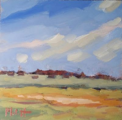 Contemporary Landscape Art Colorful Ranch Oil Painting