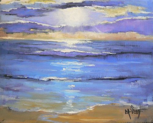 Seascape in Morning Lite, Daily Painting, Small Oil Paining, Seascape Giclee Print