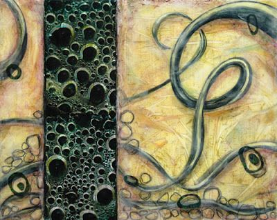 "Mixed Media Abstract Art Painting ""Bubbles"" by Santa Fe Contemporary Artist Sandra Duran Wilson"