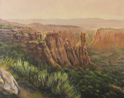 """Original Colorado Mountain Landscape Painting,""""Kissing Couple at Sunset"""" by Nancee Jean Busse Painter of the American West"""