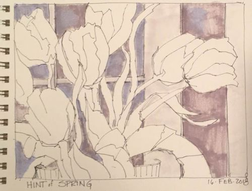 """Day 135 """"HInt of Spring"""" pen, ink, marker"""