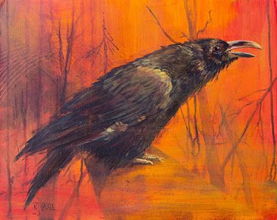 "Bird Painting, Fine Art, Raven, Forest ""Survivor"" by Colorado Artist Nancee Jean Busse, Painter of the American West"
