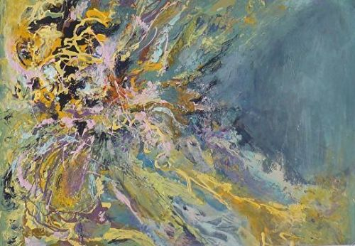 """Contemporary Abstract Painting """"Grotto"""" by Contemporary New Orleans Artist Lou Jordan"""