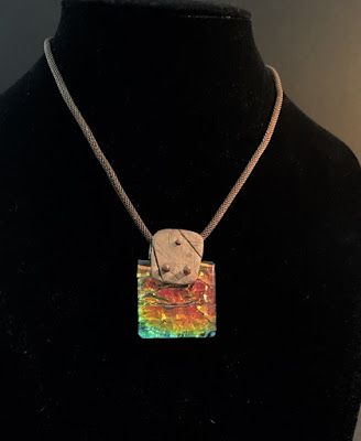 """Contemporary Jewelry, One of a Kind Fused Glass Jewelry, Necklace """"DICHROIC GLASS CABOCHON ON A COPPER JACKET"""" by Florida Contemporary Artist and Designer Mary Ann Ziegler"""