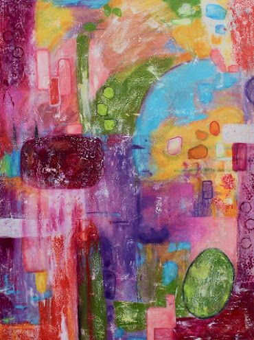 "Abstract Painting, Expressionism, Contemporary art, Large Colorful Wall Art ""The Rebel's Frolic"" by International Contemporary Artist Kimberly Conrad"