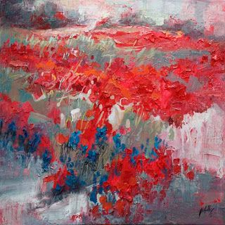 Abstract Bluebonnet and Indian Paintbrush Painting by Texas Artist Niki Gulley