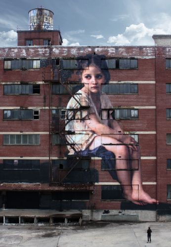 A Neoclassical Girl Towers Over Memphis in a Seven-Story Wheatpaste by Julien de Casabianca