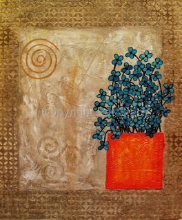 "Original Contemporary Abstract Mixed Media Flower Art Painting ""Rhythm and Blues"" by Contemporary Arizona Artist Pat Stacy"