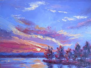 Setting Sun on Lake Granbury, New Contemporary Landscape Painting by Sheri Jones
