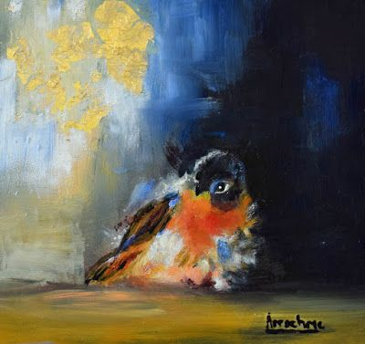 "Bird Painting, Contemporary Art ""Wild Citizen III"" by International Contemporary Abstract Artist Arrachme"