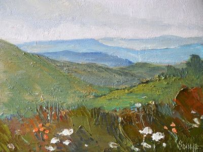 Rustic Mountain Landscape, Small Oil Painting, Daily Painting, Palette Knife Landscape, 6x8