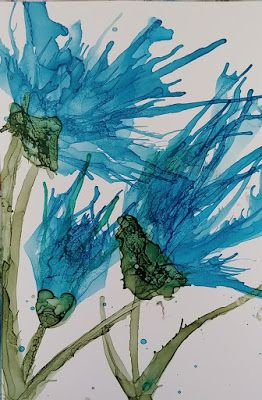 """Contemporary Still Life Floral Painting, Flower Art """"Turquoise Skyward"""" by Arizona Abstract Artist Cynthia A. Berg"""