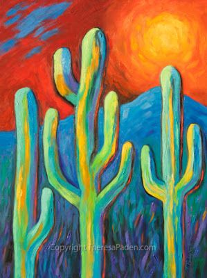 Contemporary Colorful Desert Landscape by Southwest Artist Theresa Paden