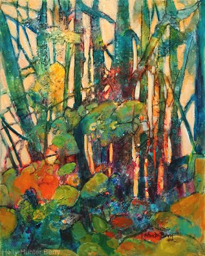 """Colorful Contemporary Landscape Painting, Abstract Landscape, Tree, """"Look Again"""" by Passionate Purposeful Painter Holly Hunter Berry"""