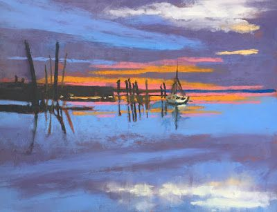 Sunset 12, Contemporary Landscape Sunset over Water, Amy Whitehouse