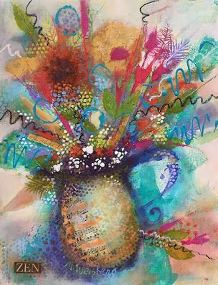 """Contemporary Mixed Media Flower Art Painting, Abstract Floral """"Dance With Light and Color"""" by Illinois Artist Marilyn Weisberg"""