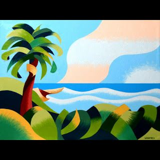 Mark Webster - Abstract Geometric Cape Town Coast with Palm Tree Oil Painting