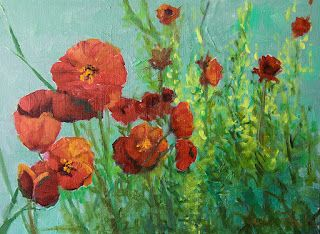 "Landscape Oil Painting, Red Poppies, Poppy Field ""Poppy Family"" by Colorado Artist Susan Fowler"