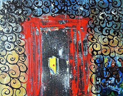"""Abstract Expressionism Art Painting """"The Red Door"""" by International Artist Arrachme"""