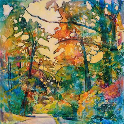 "Contemporary Colorful Landscape Painting, Mixed Media, Trees, Fine Art For Sale, ""The Road is Still On The Map"" By Passionate Purposeful Painter Holly Hunter Berry"