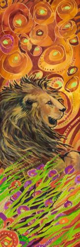 """Contemporary Colorful Animal Art ,Wildlife Painting """"Lion"""" by Colorado Artist Nancee Jean Busse"""