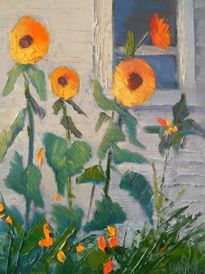 Sunflowers and farmhouse.the perfect pairing! daily painting, small oi painting, 6x8 oil painting