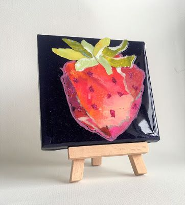 """Summer Sale, Still Life, Resin, Textural Collage, Small Painting, Mixed Media """"PAPER STRAWBERRY"""
