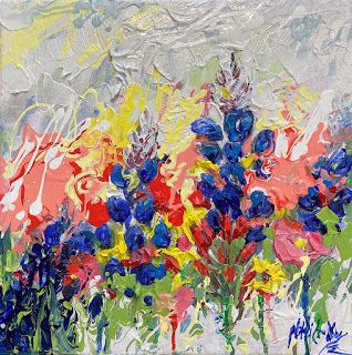 Texas Bluebonnet and Wildflower Painting by Niki Gulley