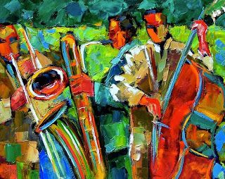 "Original Jazz Art Music Abstract Painting ""Jazz In The Garden"" by Debra Hurd"