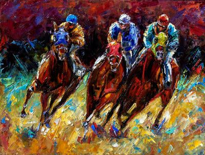 "Churchill Downs, Horse Race Art, Fine Art Print, Jockey ""The Turn"