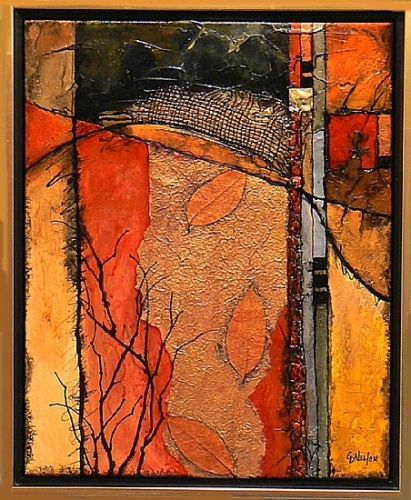 "Contemporary Mixed Media Abstract Art Painting ""Autumn Crossing"" by Colorado Mixed Media Abstract Artist Carol Nelson"