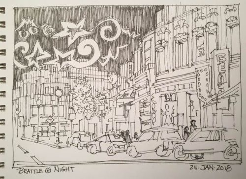 """Day 114 """"Brattle at Night"""" 6 x 9 pen&ink"""