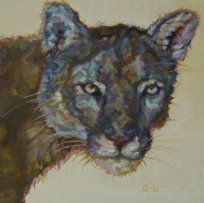 """Wildlife,Colorful Contemporary Animal Fine Art Painting, Wild Cat,""""Curt"""" by Patricia A. Griffin, Represented by Gallery Wild, Jackson, Wyoming"""