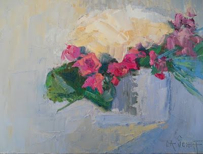 Hydrangea and Rose Still Life, Daily Painting, Small Oil Painting, Knife Painting, 6x8