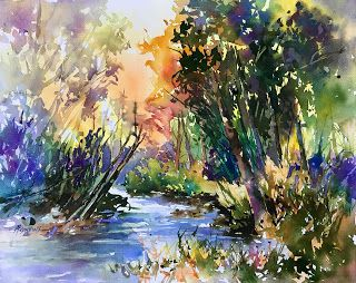 Abounding Color..Watercolor..Texas Artist..Rae Andrews