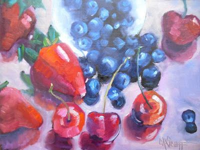 Berries Mix Still Life, Daily Painting, Small Oil Painting, 6x8