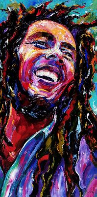 "Abstract Reggae Music Portrait Painting ""Bob Marley Reggae Portrait"" by Texas Artist Debra Hurd"