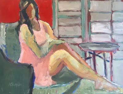 "Female Figurative Art Painting,Interior View Portrait ""Conversation"" by Oklahoma Artist Nancy Junkin"